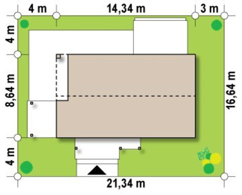Проект небольшого современного одноэтажного коттеджа