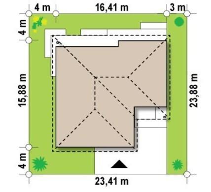 Проект одноэтажного классического дома с гаражом для одной машины
