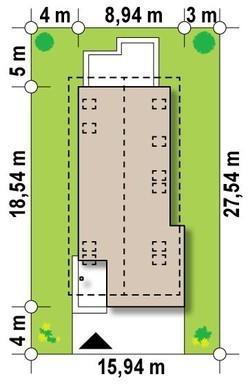 Проект коттеджа для узкого участка с террасой над гаражом