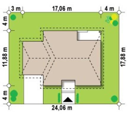 Проект одноэтажного дачного классического коттеджа с четырехскатной крышей