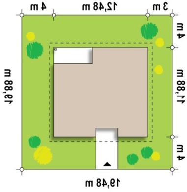 Проект дома с тремя спальнями и угловым окном в кухне