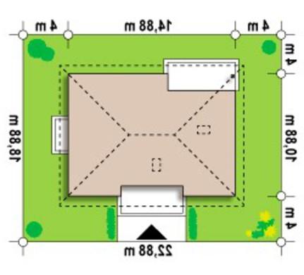 Проект одноэтажного коттеджа классического стиля с четырехскатной крышей