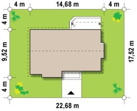 Проект одноэтажного коттеджа с современными элементами фасадов