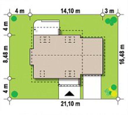 Проект аккуратного загородного одноэтажного коттеджа с мансардой и гаражом для автомобиля