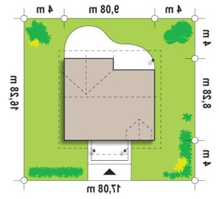 Проект коттеджа с камином на террасе