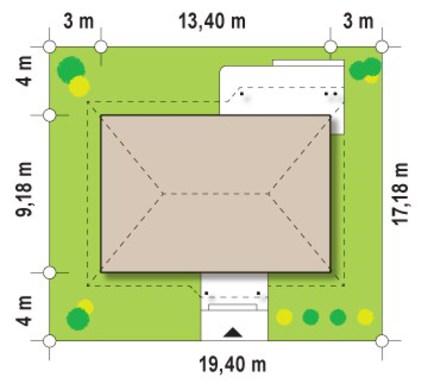 Одноэтажный дом по типу 4M474 в каркасном исполнении