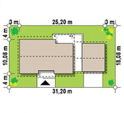 Одноэтажный коттедж с оригинально пристроенным гаражом