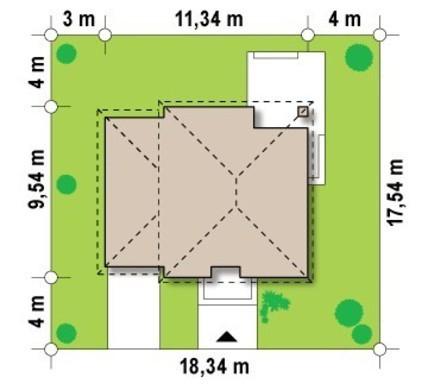 Проект двухэтажного современного коттеджа с тремя спальнями и гаражом