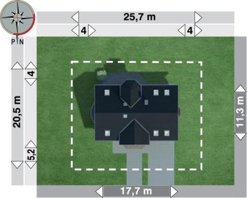 Коттедж с мансардой и полукруглым балконом над эркером