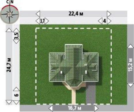 Симпатичный проект коттеджа с крыльцом в виде башни