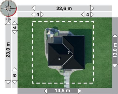 1 этажный коттедж Т-образной формы