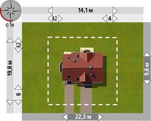 Интересный проект 1,5-этажного коттеджа с частично кирпичным фасадом