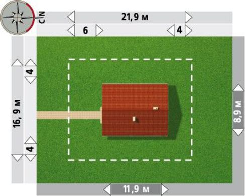 Коттедж прямоугольной формы 12м на 9м